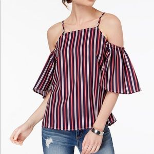 *NWT* Almost Famous Striped Cold-Shoulder Top